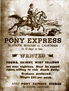 sample Pony Express poster  (National Park Service / Pony Express Stables Museum)