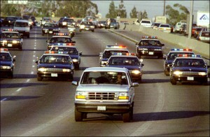The famous white Ford Bronco being chased by police