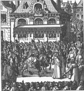 Ernst Mansfeld getting a generous greeting from a crowd in London, 1624