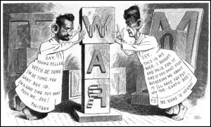 Political cartoon illustrating the ongoing war between Joseph Pulitzer and William Randolph Hearst
