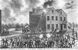 A mob forms outside of the Godfrey and Gilman warehouse, where the new press was being held, and where Lovejoy was killed.