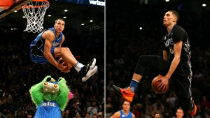 Aaron Gordon and Zach LaVine break out all their best dunks in the 2016 NBA dunk contest. Credit:http://www.sportingnews.com/nba-news/4694910-aaron-gordon-zach-lavine-greatest-dunk-contest-ever-maybe