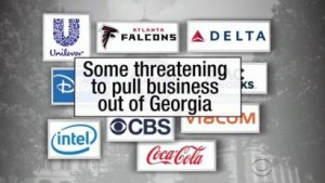 Companies are threatening to pull their businesses out of Georgia if the bill is passed. CREDIT: http://newsbusters.org/blogs/nb/curtis-houck/2016/03/24/cbs-hits-panic-button-rails-against-religious-freedom-bills-georgia