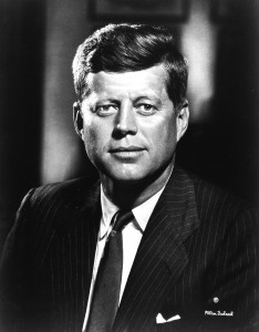 Official photographic portrait of President John Fitzgerald Kennedy (1961-1963) by Fabian Bachrach, Bachrach Studios.