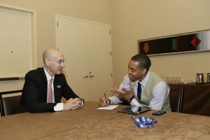 McCollum interviewing NBA Commissioner Adam Silver CREDIT: http://www.forbes.com/sites/darrenheitner/2013/07/11/trail-blazers-guard-c-j-mccollum-interviews-incoming-nba-commissioner-adam-silver/#486911712a30