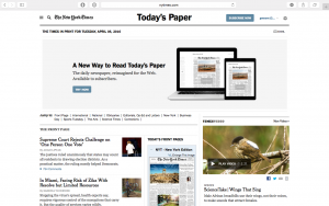 Digital versions as well as the front page of the print edition available at nytimes.com