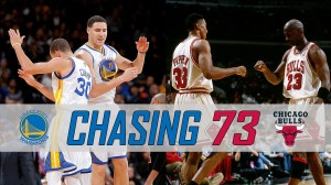The Golden State Warriors behind the Splash Brothers break the 1995-96 Chicago Bulls's regular season record. CREDIT: http://www.nba.com/news/2015-16-golden-state-warriors-chase-1995-96-chicago-bulls-all-time-wins-record/
